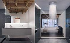 Os banheiros são minha parte favorita! São bem modernos, mas preservam revestimentos rústicos.