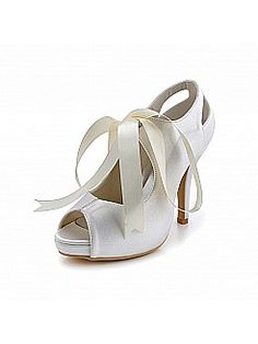 Peep Toes High Heel Satin Bridal Shoes with Straps - USD $91.99