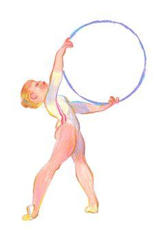 Gymnaste#1 pastel gras - wax pastel