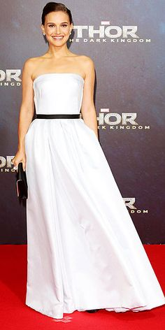 Natalie Portman in strapless white organza Dior gown with black belt at the Berlin premiere of 'Thor: The Dak World'