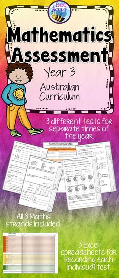 These Maths tests, for year three students, are linked to the Australian Curriculum. They cover Number & Algebra, Measurement & Geometry and Statistics & Probability. Math Assessment, Math Test, Australian Curriculum, Primary Classroom, Creative Teaching, Addition And Subtraction, Elementary Math, Teaching Resources, Teaching Ideas
