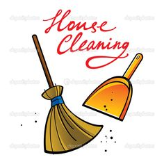 house+cleaning+clip+art | House Cleaning broom brush dust dirt service shovel | Stock Vector ...