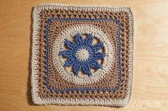 Loopsan: One Block a Week CAL: Week 6 'Blooming Lace Square' by Melinda Miller with pattern link.