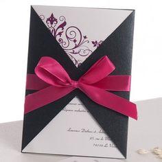 Nœud en Deux Boucles fushia Faire Part Mariage Poche Style JM331 #weddinginvitations #joyeuxmariage