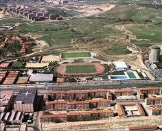 Antigua Ciudad Deportiva del Real Madrid,al fondo terrenos de La Vaguada.Col.de los tranviarios.1965.