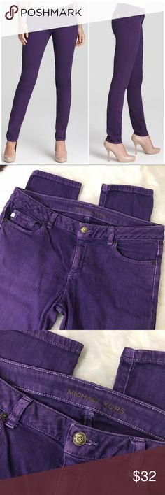 "Michael Kors Purple Skinny Jeans Size 8 Super trendy and unique purple skinny jeans by Michael Kors - size 8 - in excellent condition! No stains or damages.  Approximate measurements: Waist 16 ½""  Rise 8"" Length 40""  All items in my closet are either NEW or in excellent condition - any signs of wear are minimal and will be detailed on pictures and description. Very clean and smoke free home.  Make me an offer and shop bulk to save! Michael Kors Jeans Skinny"