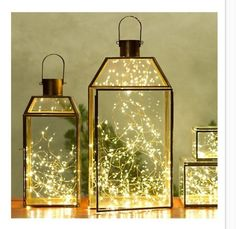 twinkle lights in lantern on my dresser