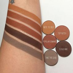 Warm brown pressed shadows by @colourpopcosmetics launching tomorrow at 10am PST! Popular Demand has more of a red undertone than Top Notch!