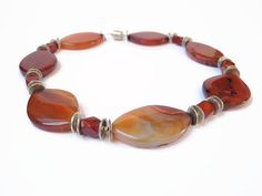 Orange red carnelian necklace handmade by FlorenceJewelshop