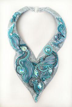 Bead embroidery: Swarovski crystals, soutache, Shibori silk www.facebook.com/AnaSasJewelry