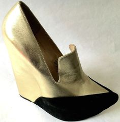 JEFFREY CAMPBELL Zinger Platform Wedge Loafer Black Metallic Gold Goth Glam 8 #JeffreyCampbell #PlatformsWedges #Clubwear