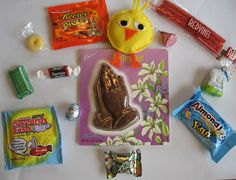 Christian  a verse themed, candy filled, scavenger-type hunt, for Easter, where the children will be given a sheet of verses, and have to find the hidden candy from around the yard, or house, that matches with each verse.   Could also use as Easter basket filling.