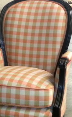 New pattern Check-Me-Out/ Melon. @Sunbrella  My favorite shades in a happy, homey look.  Love it!