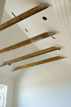 Shiplap Ceiling, Ceiling Beams, Shiplap Bathroom, Wainscoting, Porch Windows, Garage Studio, Country House Design, Farmhouse Renovation, Master Bath Remodel