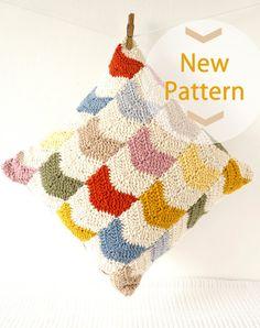 "NEW Chevron Cushion Pattern Pillow PDF Crochet Pattern 16""x16"" Kitsch Geometric"