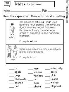Ficha para reforzar el aprendizaje del artículo indefinido en inglés (a/an)