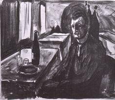 """Edvard Munch -""""Autoportrait à la bouteille de vin"""" c.1926"""