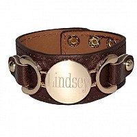 Personalized Bracelet Leather Snap Cuff with Gold by netexchange