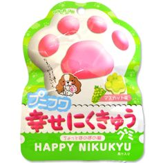 Nikukyu is the Japanese term for the padding on a Kitten's paws. This cute cassis flavored gummy candy is shaped just like a little Kitten's little paw! From Japanese candy makers Senjaku, these delicious and kawaii gummies will make your heart skip a beat! Each cute pack is filled with delicious chewy candies!
