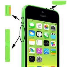 [USD0.46] [EUR0.42] [GBP0.33] 3 in 1 (Mute Button + Power Button + Volume Button) for iPhone 5C, Green