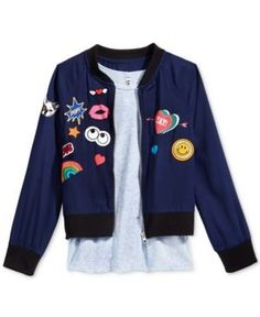 c98ea8693b57 Beautees Girls' 2-Pc. Patched Bomber Jacket and Tank Top Set - Blue