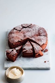Diana Henry's chocolate & olive oil cake (just chocolate, olive oil, sugar, eggs and ground almonds/hazelnuts)