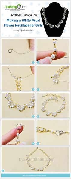 Pandahall Tutorial on Making a White Pearl Flower Necklace for Girls