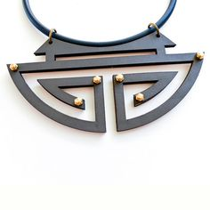 Leather necklace geometric chinese circle grey by meetthecat
