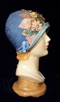 Adorable Vintage Cottage Chic ART DECO Pink Flowers French Blue FLAPPER Cloche Hat 20s