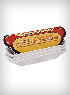 """It's Not Paper"" Hot Dog Trays, $17, super cute and eco-conscious. Love it!"