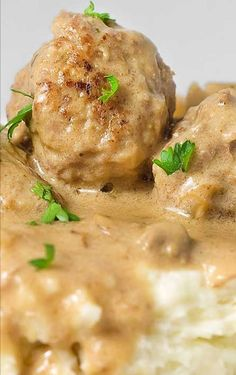 Meatballs in Mushroom Cream Sauce. I would replace the mashed potatoes with egg noodles so that it's more like stroganoff.