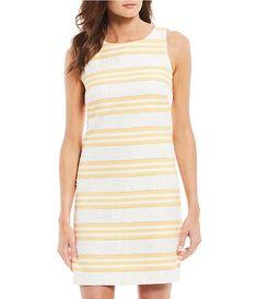 501376971f Vince Camuto Sleeveless Striped Jacquard Shift Dress