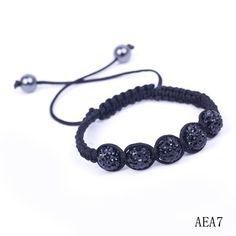Eozy Clearance :Black Rhinestone Crystal Clay Disco Balls Beads Charms Bracelet Adjustable