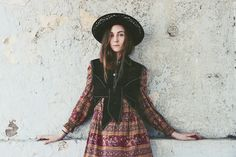 Frolicking with Clementine Vintage Suede waistcoat, 70's dress & vintage laura ashley wool hat
