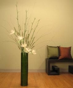 Green Floral Crafts 25 in Green Cylinder Tall Vase Ivory Lilies  Dried Grasses >>> See this great product.