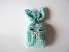 Handknit Sky Blue Itty Bitty Bunny Cat Toy by TailsandSnouts