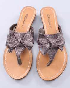 Glittery Thong-Style Sandals