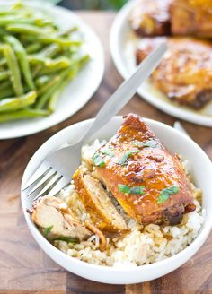 Sticky Baked Bourbon Chicken- This recipe for marinated and baked chicken thighs makes the perfect weeknight meal! So delicious and simple!