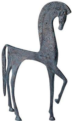 This is Hellenistic Classic Greek Ironwork Horse Statue Sculpture Figurine. Sculptures Céramiques, Horse Sculpture, Ancient Greek Art, Art Ancien, Paperclay, Arte Popular, Ancient Jewelry, Equine Art, Ancient Artifacts