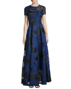Short-Sleeve Fil Coupe Gown, Black/Blue by Escada at Neiman Marcus.