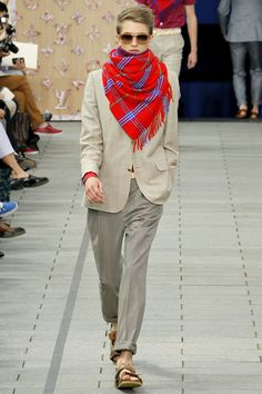 Amazing Louis Vuitton Spring 2012 ensemble. Great suit with a colorful scarf