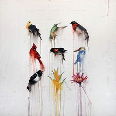Michael Dickter Fleeting Moments of the Natural World inspiration Invert Colors, Love Illustration, Colorful Birds, Beautiful Birds, Beautiful Things, Types Of Art, Textile Prints, Watercolor And Ink, Bird Art