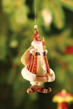 Patience Brewster Candle Light Glass Santa Ornament Red