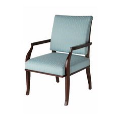 East Indies Collection upholstered armchair in light blue color and contrast dark wood by iBalDesigns, Bali
