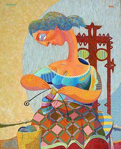 I'm working on a sock that makes me feel like this.     'Knitting'  painting art sale none none paintings