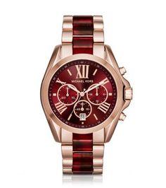 Oversize Bradshaw Rose Gold-Tone and Burgundy Acetate Watch | Michael Kors STORE STYLE #: MK6270 $275.00