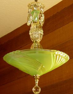 Vintage Chandelier Jadite Art Deco Chandelier Antique Ceiling Light Rewired Gorgeous Color Pristine Condition very Pretty - All About Decoration Lampe Art Deco, Art Deco Chandelier, Art Deco Lamps, Antique Chandelier, Art Deco Lighting, Antique Lamps, Antique Lighting, Vintage Lamps, Cool Lighting
