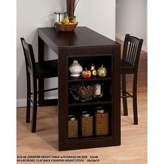 Shop Jofran Furniture Maryland Merlot Counter Height Set with great price, The Classy Home Furniture has the best selection of Bar Complete Sets to choose from Kitchen Table With Storage, Small Kitchen Tables, Table Storage, Dining Table In Kitchen, Storage Shelves, Small Dining, Dining Area, Storage Ideas, Shelving