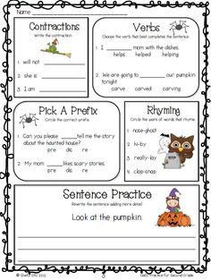October Daily Practice for Second Grade --aligned with Common Core Language Arts Standards---great Language Arts review for 2nd grade-contractions, verbs, prefix, rhyming sentences, etc. $