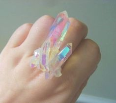 Natural look crystal ring, cute for fairy kei or magic style. // angel aura…